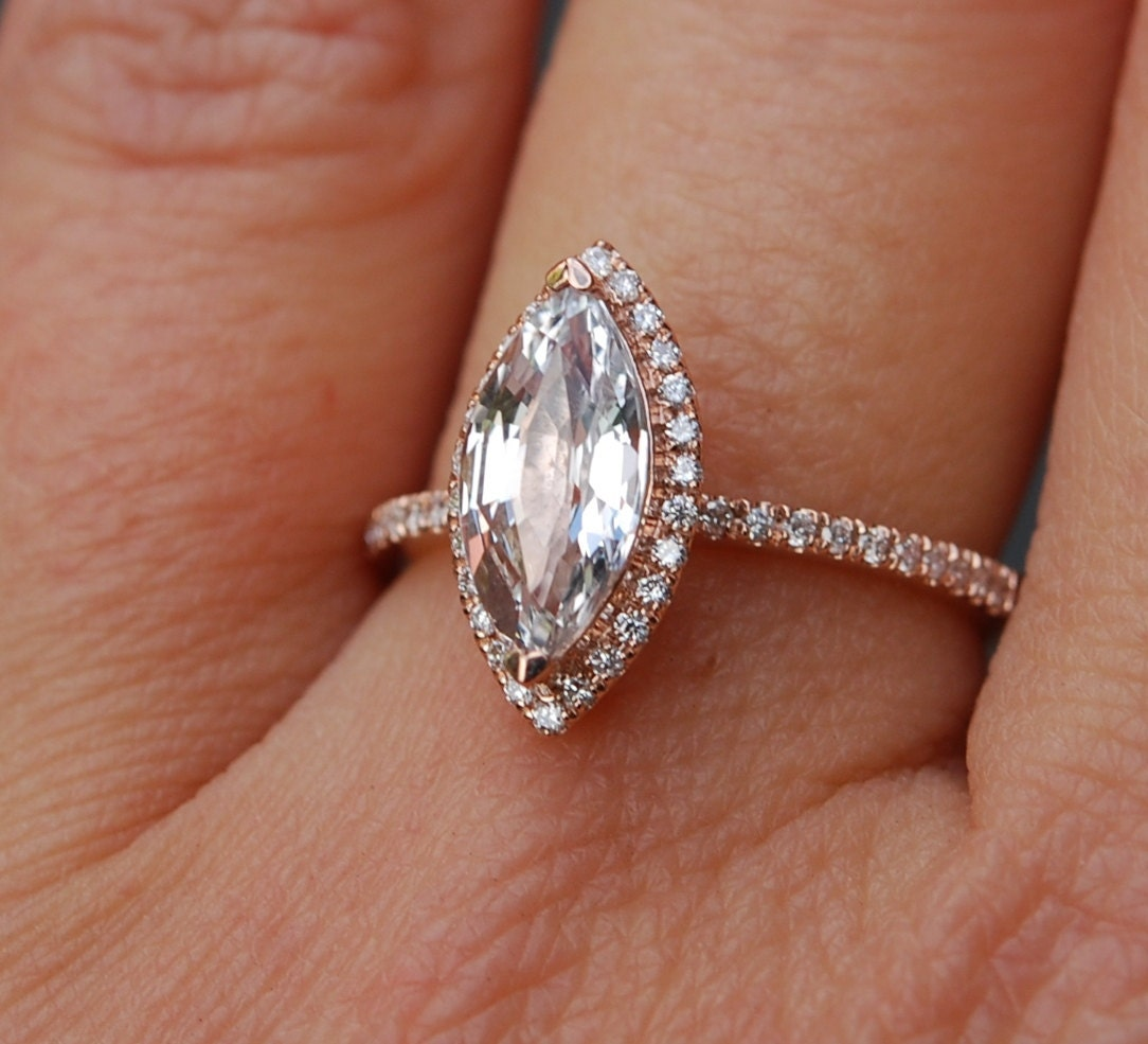 Marquise Ring Bands: Marquise Engagement Ring. Rose Gold Diamond Ring Engagement