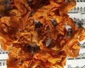 Crinkle ribbon Vintage Carved Pumpkin hand dyed ribbon seam binding crinkly stained ribbon TeamHaha Hafair OFG ADO Nooga Norga Mha Ellijay