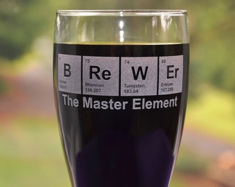 Personalized Engraved Periodic Table Pint Glass, Master BReWEr Mug, Beer Brewers Crafters Gift, Math/Science Teacher Gift, Engineer Gift