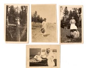 Eight Antique Photographs Men and Women Snapshots Great for Altered Art Projects