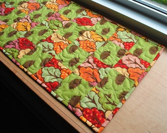 Handmade Quilted Table Runner Hedgehog Trees Green Red Yellow Table Topper Dresser Scarf