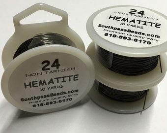 24 gauge Non Tarnish Hematite Copper Craft Wire 10 yards Made in USA