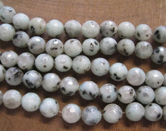 Sesame Jasper 6mm Faceted Spotted Gemstone Rounds 30 Beads Per Strand