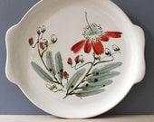 Moon Flowers. Vintage 1950s Salem China  cake plate.