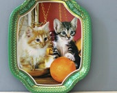 Kitten Kitsch.  1970s cat Elite tin tray, made in England.