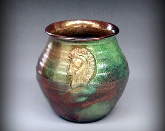 Raku Pot with Horse in Gold, Green, Copper Metallic and Iridescent Colors