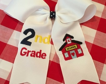 First Day of School Grade Hair Bow Ponytail Embroidered Schoolhouse