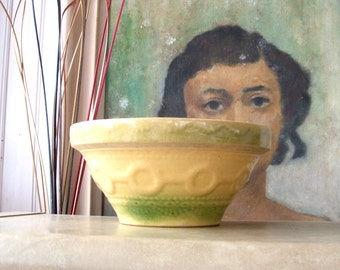 Antique Wedding Ring Yellow Ware Stoneware Pottery Mixing Bowl
