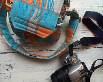 Teal Orange Monogrammed Personalized Padded Camera Bag Cannon Rebel 55mm