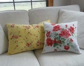 Pair Floral Pillows Cottage Chic Red Roses Decorative Pillows Red Yellow Flowers Throw Pillows Porch Pillows READY to SHIP Set of 2