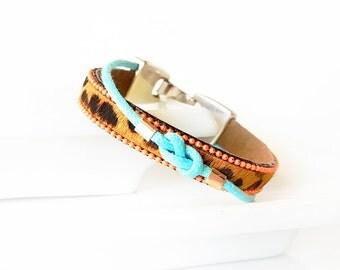 Hair On Hide BRACELET - Leopard Print Bracelet, Leather Bracelet, Waxed Cotton Cord Sailor's Knot, Ball Chain Trim - aqua, neon orange