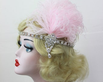 Light Pink Feather Fascinator, Crystal Rhinestone Headband, Great Gatsby Hair Accessory, 1920s Flapper, Bridal Fashion, Wedding Headpiece