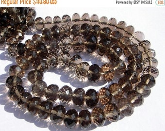 50% Off Valentine day Full 16 Inches - Finest Quality Genuine AAA Smoky Quartz Micro Faceted Rondelles Large Size 7 - 9mm approx
