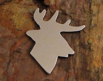 """5 Deburred 1 1/2"""" Whitetail BUCK *Choose Your Metal* Aluminum Brass Bronze Copper Nickel Silver Stamping Blanks Stamping Blanks"""