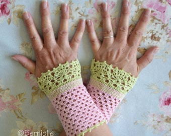 Lace crochet wristies, wristlets, cotton, P475