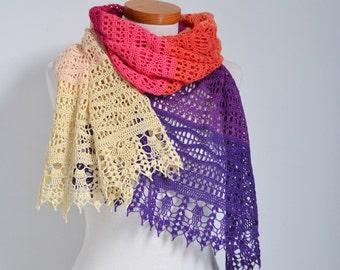 Crochet lace shawl, lace, cotton, P511