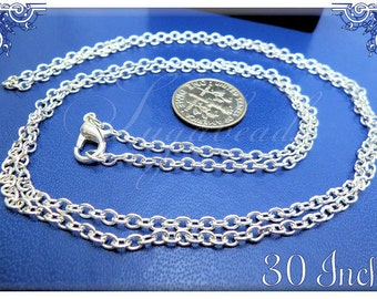 4 Long Silver Plated Finished Chains - 30 inch Cable Chains with Clasps SB07
