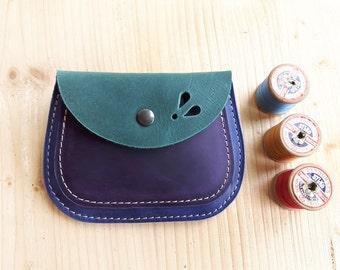 Handmade, Leather clutch Large Purse, MERRY 3065 mermaid, ultramarine, violet