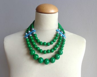 Green chunky necklace modern tribal statement necklace