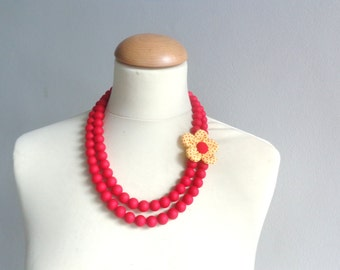 Red yellow polka dot statement necklace, wedding necklace flower multi strand necklace