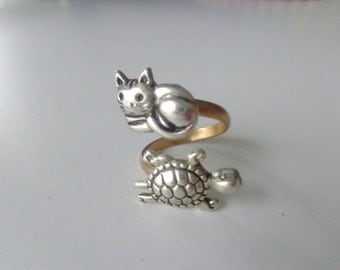 Silver turtle ring with a cat wrap ring, adjustable ring, animal ring, silver ring, statement ring
