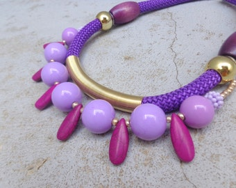 Purple colorful statement jewelry,chunky rope necklace