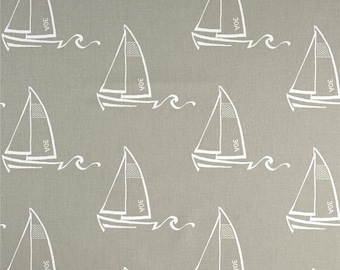 Grey Sailboat Valance - Premier Prints Seaton Cove Fabric - Coastal, Neutral Taupe Gray