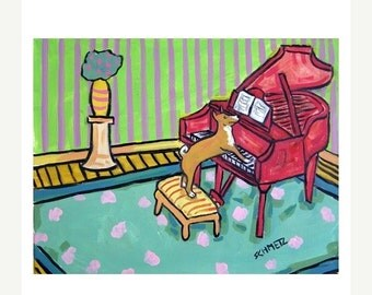 ON SALE Basenji Playing the Piano Dog Art Print