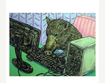 ON SALE Javelina Working from Home Art Print
