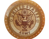 Pine Needle Basket Center Military Emblems -  Army, Navy, Air Force, USMC, Coast Guard - Set in Resin, Drilled - CHOOSE