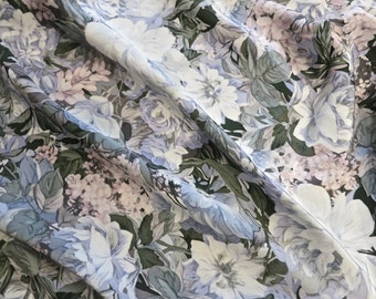 Vintage Beautiful Silk Charmeuse Floral Print Fabric - Pale Pastels and Gray
