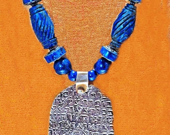 Antique Silver Hamsa & Lapis Beads