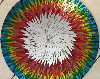 "24 "" Rainbow Floral Handmade Glass Mosaic Mirror garden, gift, mom"
