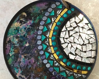 Small Black Mandala Stained Glass Mosaic Wall Hanging...