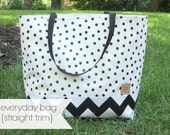 everyday bag with straight contrast bottom // oilcloth tote carryall purse colorblock lined / floral chevron gold black white dot stripe