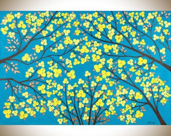 "Turquoise Blue yellow copper art copper home decor large wall art canvas art wall decor ""The Blooming Season"" by qiqigallery"