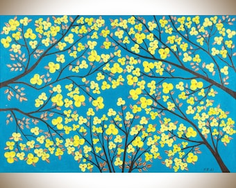 "Blue yellow copper wall art original painting acrylic Impasto Palette Flower tree canvas art wall decor ""The Blooming Season"" by qiqigallery"