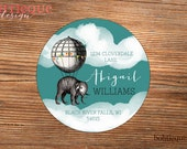 Address Label Sticker, Personalized Mailing Label, Gift Sticker - Abigail Elephant