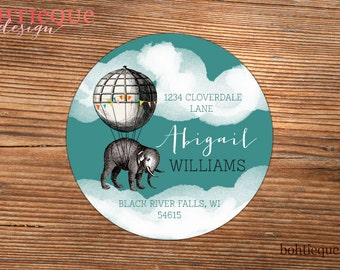 Custom return address labels with color choices, Return to label, personalized address label, custom return label,  Abigail Elephant