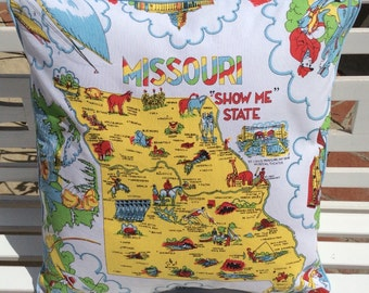 "Missouri Pillow Cover, 18""!Retro Missouri Pillowslip, Show Me State Pillow, Missouri State Map Pillow, Retro Missouri, Missouri Home Decor,"