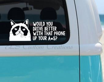 Grumpy Cat Cell Phone Car Decal, Grumpy Cat Decal