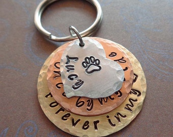 Pet Memorial Keychain Once by my side forever in my heart - Dog Cat memorial Hand-Stamped Washers - P12