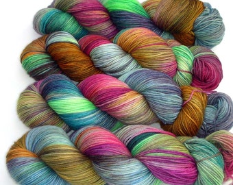 Sock Yarn Handdyed Merino Cashmere Nylon Yarn - Topsy Turvy, 430 yards