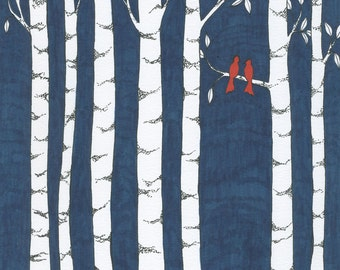 Always and Forever Art Print, Birch Trees, Cardinals, Dusk