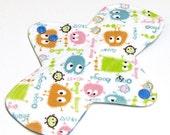 "Reusable Cloth Menstrual pad- 8 inch MEDIUM/REGULAR flow -bamboo/organic cotton core- PUL - Cotton knit top ""Spring Ooga Boogas"""