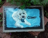 Pet Memorial Garden Stone,slate, pet grave marker ,outdoor pet memorial,,custom painted pet memorial stone, personalized,,cat, dog,pet