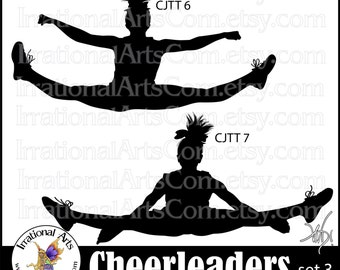 Cheerleader Jump Toe Touch Silhouettes set 3 - 2  png digital graphics - cheerleaders clipart stunt cheer spirit [INSTANT DOWNLOAD]