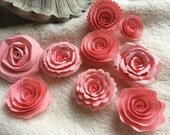 Scrapbook Flowers...9 Piece Set of Very Sweet and Lovely Scrapbook Paper Flower Rolled Roses