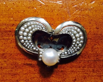 Vintage Silver and Seed Pearl Dress Clip