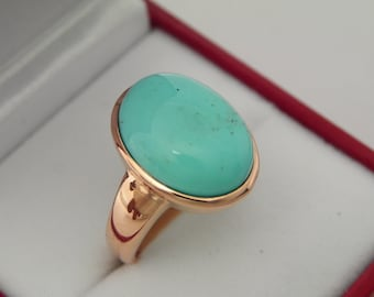 AAAA Turquoise Arizona Kingman Mine   16x12mm  5.0 Carats   in 14K Rose gold ring, also available in White gold 0705